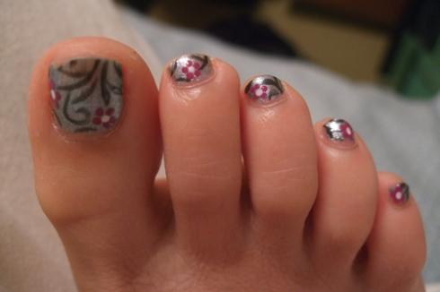 asian floral nail art