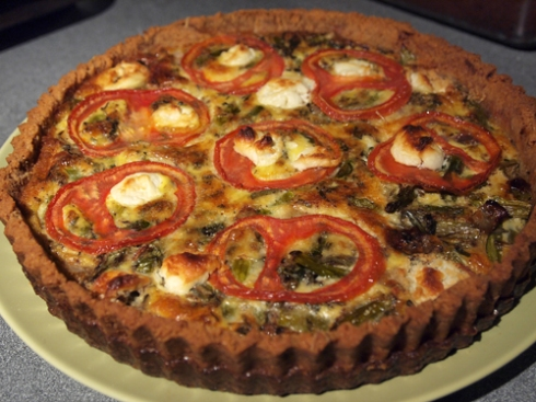 asparagus tomato quiche with almond flour crust urbanpocketknife