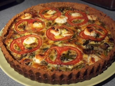 asparagus tomato quiche with almond flour crust urbanpocketknife